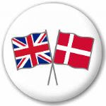 Great Britain and Denmark Friendship Flag 25mm Pin Button Badge